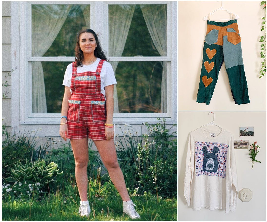 A woman models overalls made. In the other two photos, pants and a long sleeve shirt are shown. All items of clothing were made from thrift store fabrics.