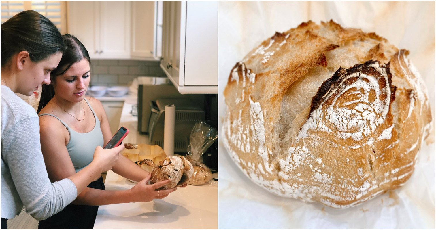 Two girls photograph freshly baked bread they made.